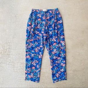 Anthropologie Elevenses Blue Floral Loose Pants